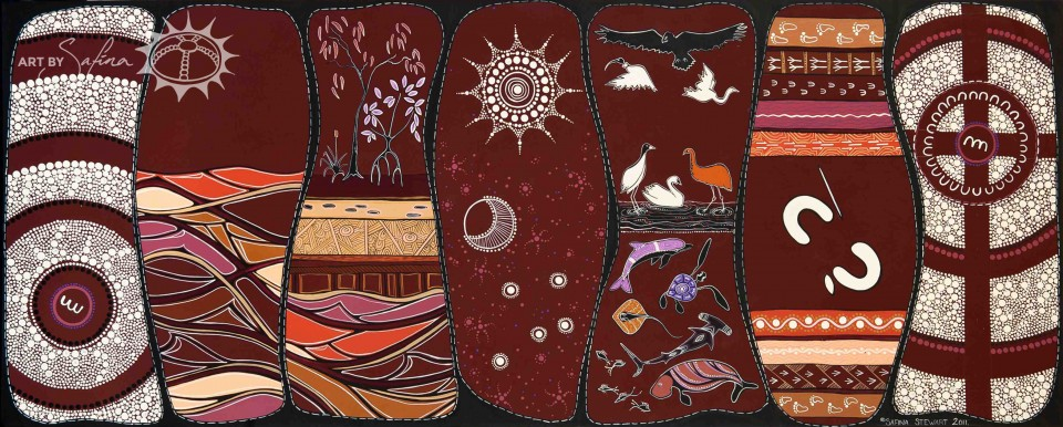 This painting was created as an Indigenous artistic expression of the Biblical story of creation. Each column of the panel represents each day of creation…