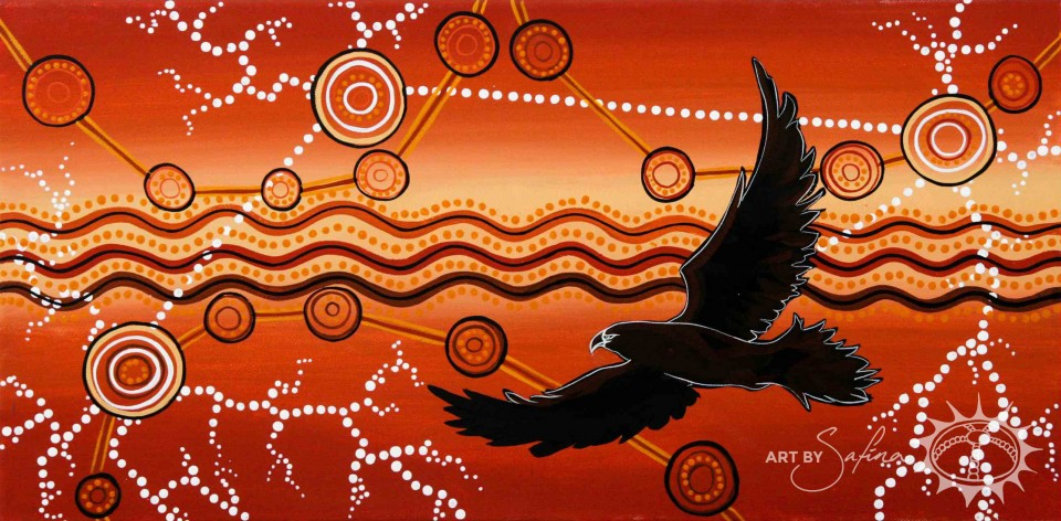 Bunjil (the eaglehawk who represents the Creator of the land) flies high over the Yarra River and clans of the Kulin Nation…